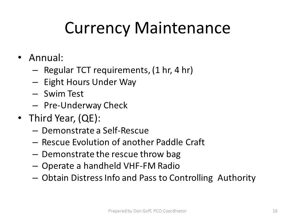 Currency Maintenance Annual: – Regular TCT requirements, (1 hr, 4 hr) – Eight Hours Under Way – Swim Test – Pre-Underway Check Third Year, (QE): – Dem