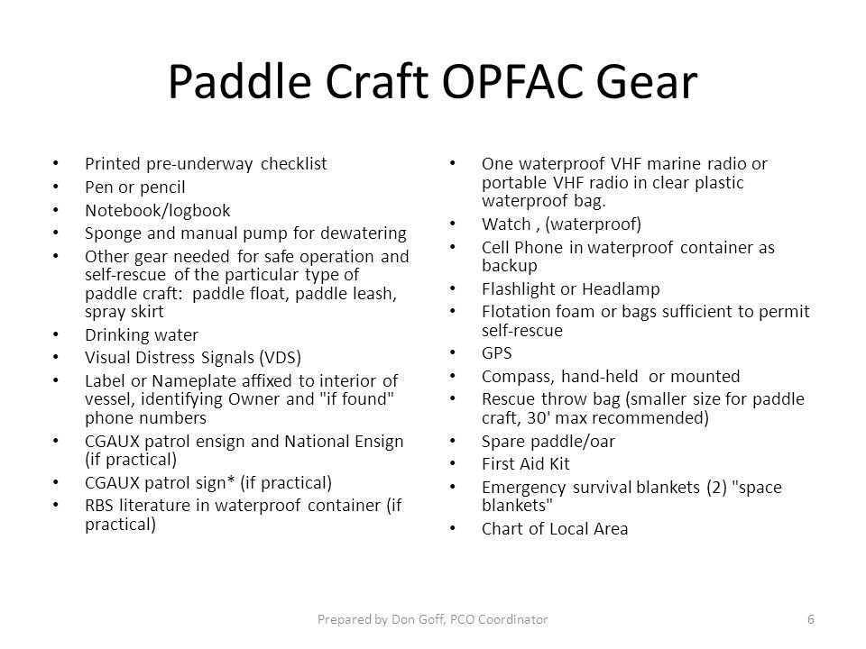 Paddle Craft OPFAC Gear Printed pre-underway checklist Pen or pencil Notebook/logbook Sponge and manual pump for dewatering Other gear needed for safe