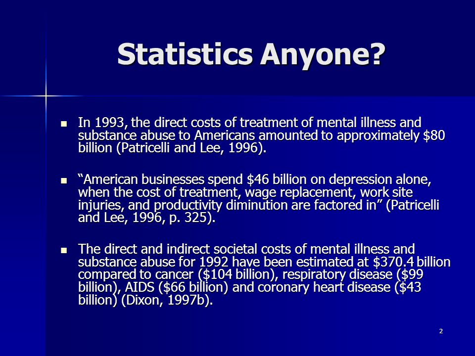 2 Statistics Anyone? In 1993, the direct costs of treatment of mental illness and substance abuse to Americans amounted to approximately $80 billion (