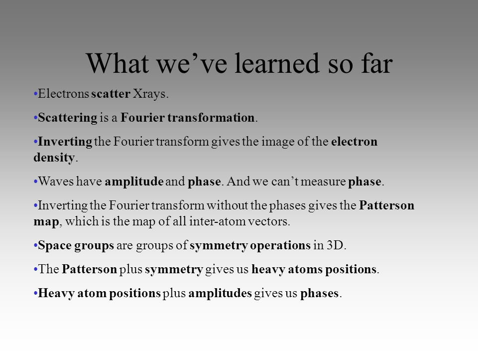 What we can do.Sum waves. Calculate the phase given atom position and scattering vector.