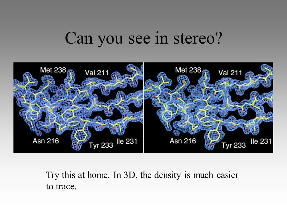 Can you see in stereo Try this at home. In 3D, the density is much easier to trace.