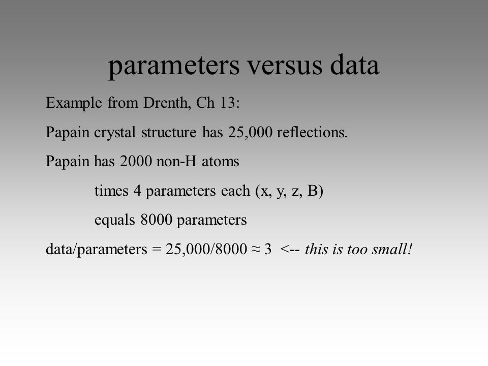 parameters versus data Example from Drenth, Ch 13: Papain crystal structure has 25,000 reflections.