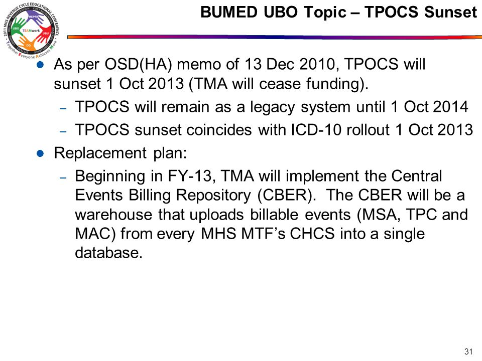 BUMED UBO Topic – TPOCS Sunset As per OSD(HA) memo of 13 Dec 2010, TPOCS will sunset 1 Oct 2013 (TMA will cease funding).