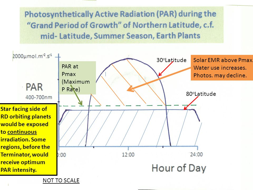30 o Latitude 80 o Latitude PAR at Pmax (Maximum P Rate) Solar EMR above Pmax.