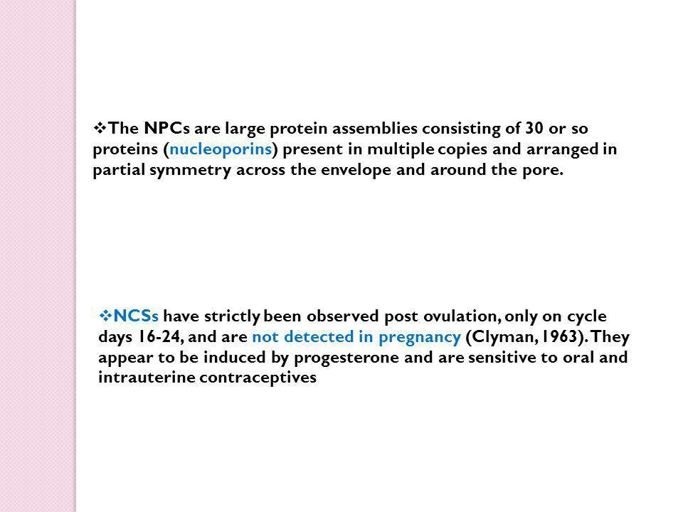  The NPCs are large protein assemblies consisting of 30 or so proteins (nucleoporins) present in multiple copies and arranged in partial symmetry across the envelope and around the pore.