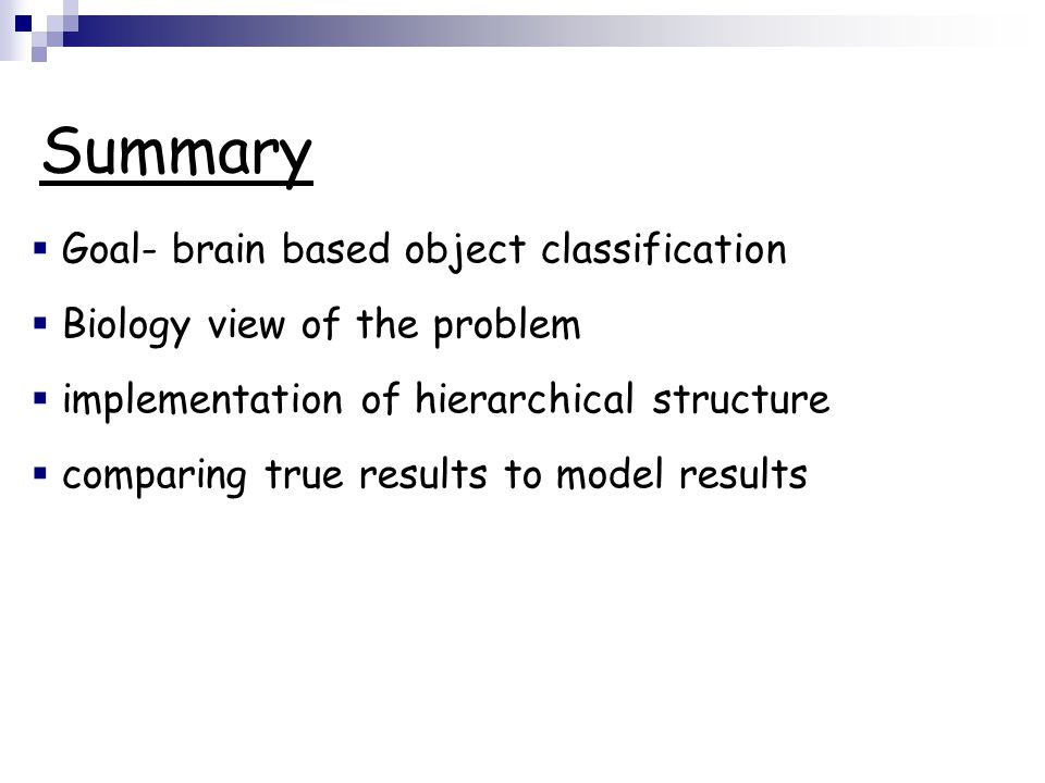  Goal- brain based object classification  Biology view of the problem  implementation of hierarchical structure  comparing true results to model r