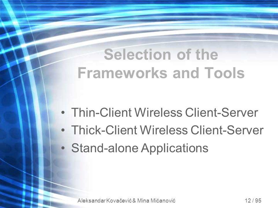 Aleksandar Kovačević & Mina Mićanović 12 / 95 Selection of the Frameworks and Tools Thin-Client Wireless Client-Server Thick-Client Wireless Client-Se