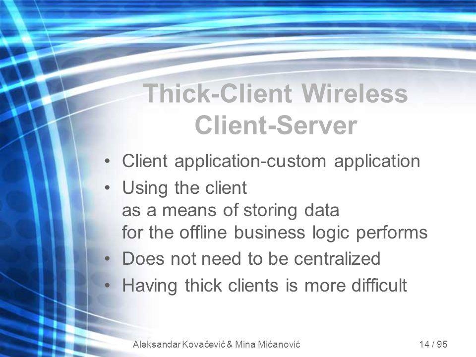 Aleksandar Kovačević & Mina Mićanović 14 / 95 Thick-Client Wireless Client-Server Client application-custom application Using the client as a means of