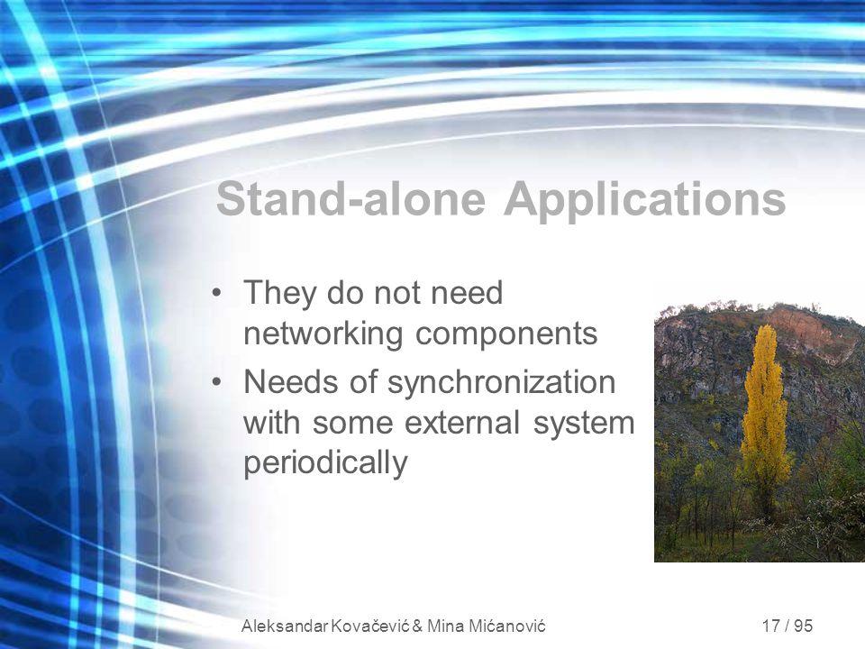 Aleksandar Kovačević & Mina Mićanović 17 / 95 Stand-alone Applications They do not need networking components Needs of synchronization with some exter