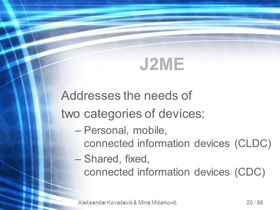 Aleksandar Kovačević & Mina Mićanović 20 / 95 J2ME Addresses the needs of two categories of devices: –Personal, mobile, connected information devices