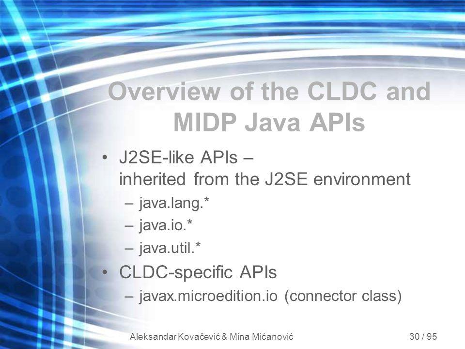 Aleksandar Kovačević & Mina Mićanović 30 / 95 Overview of the CLDC and MIDP Java APIs J2SE-like APIs – inherited from the J2SE environment –java.lang.