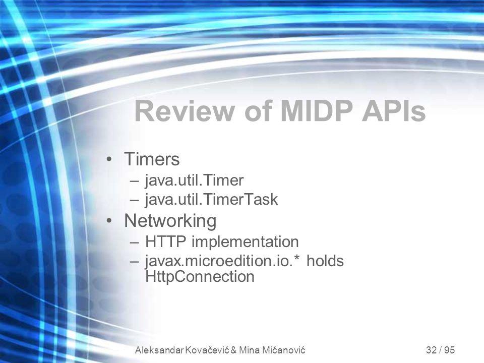 Aleksandar Kovačević & Mina Mićanović 32 / 95 Review of MIDP APIs Timers –java.util.Timer –java.util.TimerTask Networking –HTTP implementation –javax.