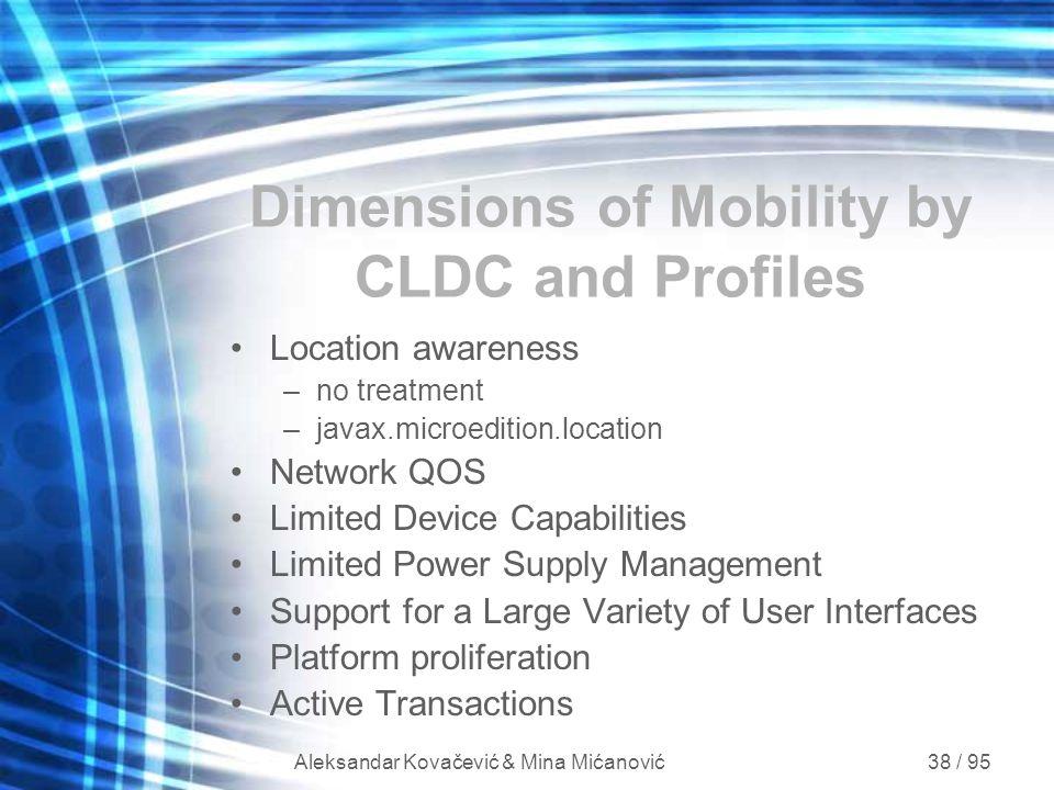 Aleksandar Kovačević & Mina Mićanović 38 / 95 Dimensions of Mobility by CLDC and Profiles Location awareness –no treatment –javax.microedition.locatio