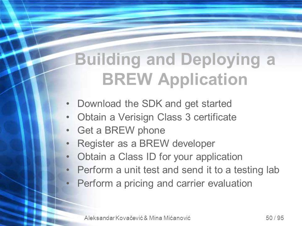 Aleksandar Kovačević & Mina Mićanović 50 / 95 Building and Deploying a BREW Application Download the SDK and get started Obtain a Verisign Class 3 cer