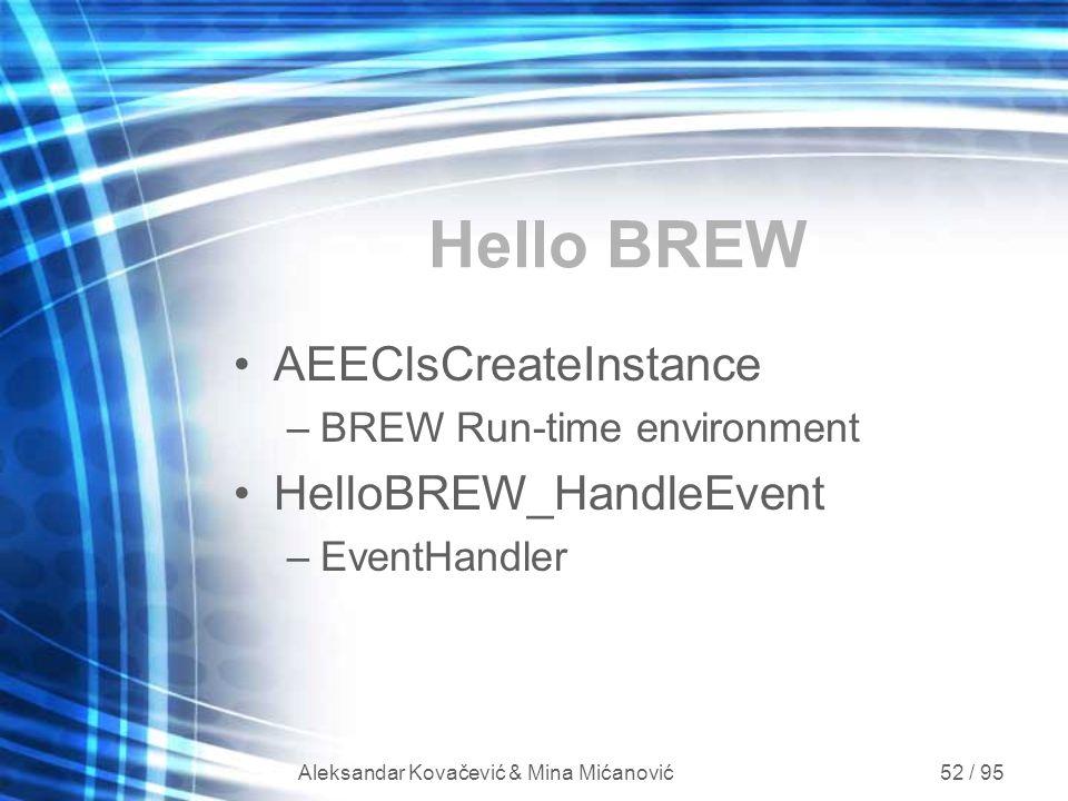 Aleksandar Kovačević & Mina Mićanović 52 / 95 Hello BREW AEEClsCreateInstance –BREW Run-time environment HelloBREW_HandleEvent –EventHandler