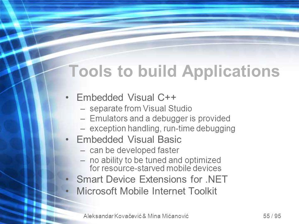 Aleksandar Kovačević & Mina Mićanović 55 / 95 Tools to build Applications Embedded Visual C++ –separate from Visual Studio –Emulators and a debugger i