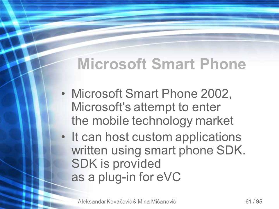 Aleksandar Kovačević & Mina Mićanović 61 / 95 Microsoft Smart Phone Microsoft Smart Phone 2002, Microsoft's attempt to enter the mobile technology mar