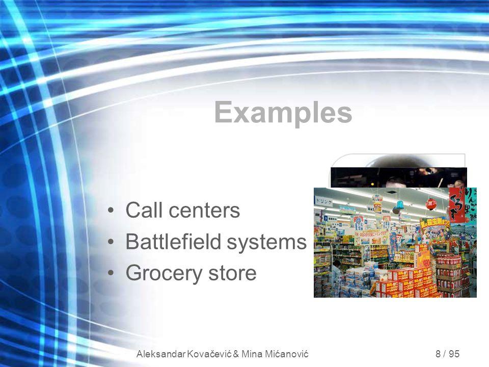 Aleksandar Kovačević & Mina Mićanović 8 / 95 Examples Call centers Battlefield systems Grocery store