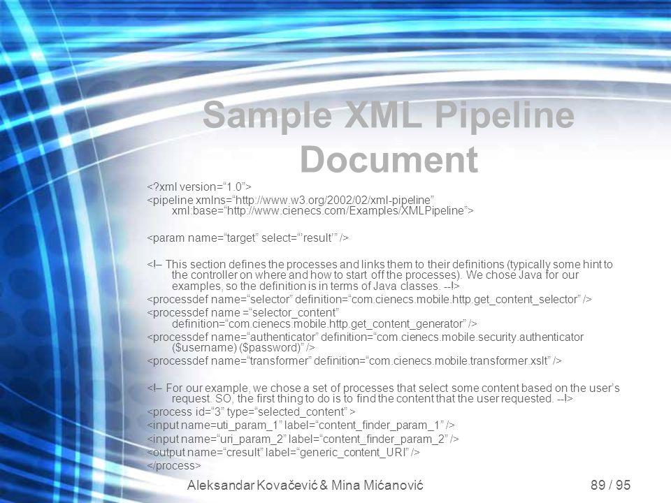 Aleksandar Kovačević & Mina Mićanović 89 / 95 Sample XML Pipeline Document