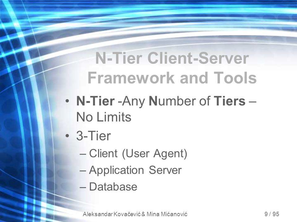 Aleksandar Kovačević & Mina Mićanović 9 / 95 N-Tier Client-Server Framework and Tools N-Tier -Any Number of Tiers – No Limits 3-Tier –Client (User Age