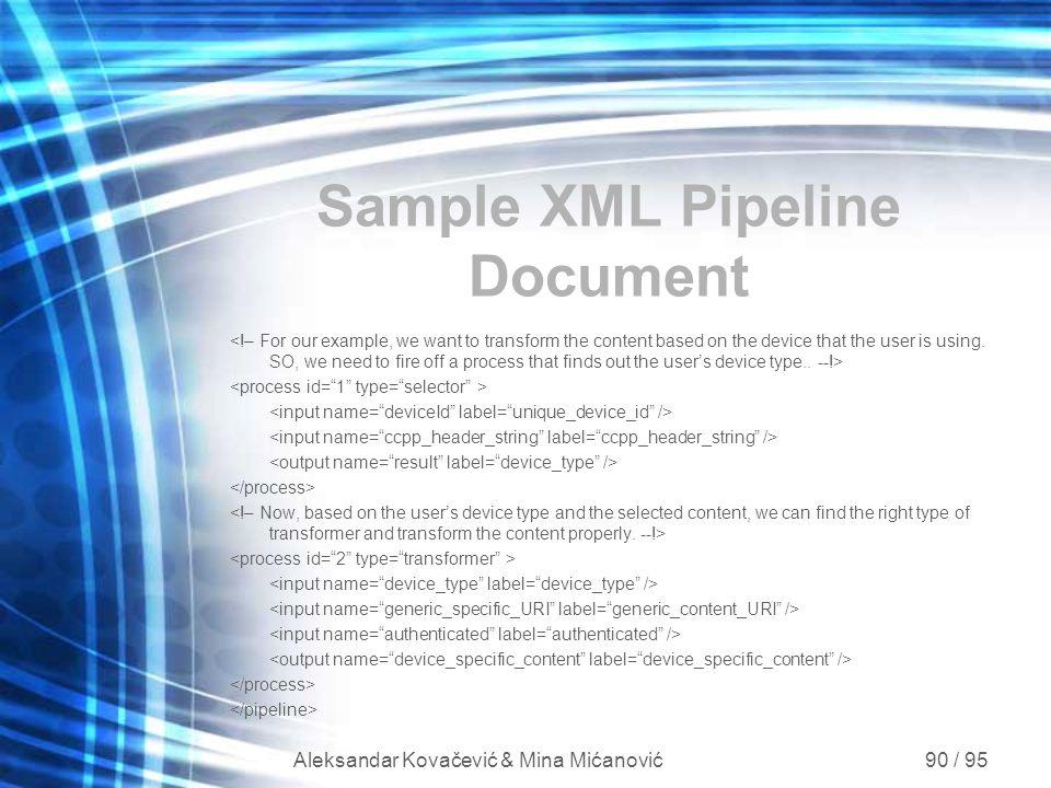 Aleksandar Kovačević & Mina Mićanović 90 / 95 Sample XML Pipeline Document