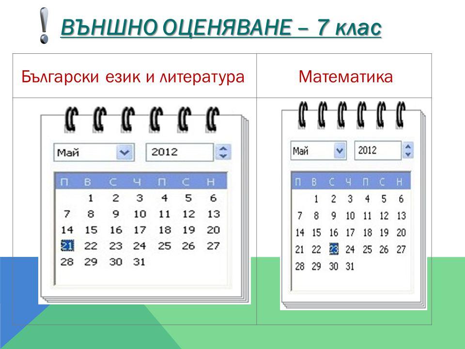 Български език и литература Математика ВЪНШНО ОЦЕНЯВАНЕ – 7 клас