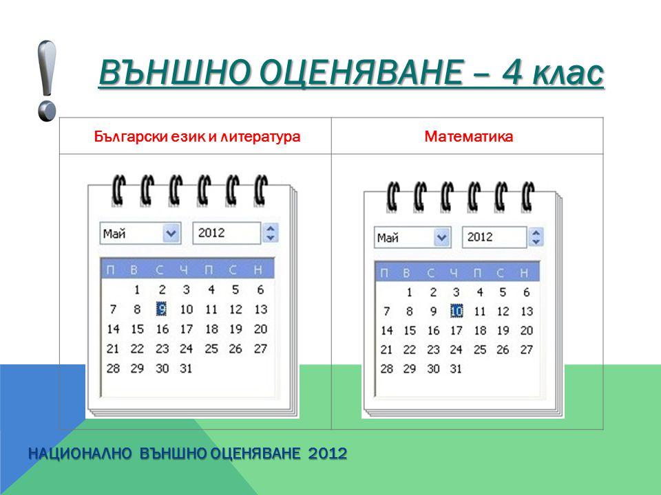 ВЪНШНО ОЦЕНЯВАНЕ – 4 клас Български език и литература Математика НАЦИОНАЛНО ВЪНШНО ОЦЕНЯВАНЕ 2012