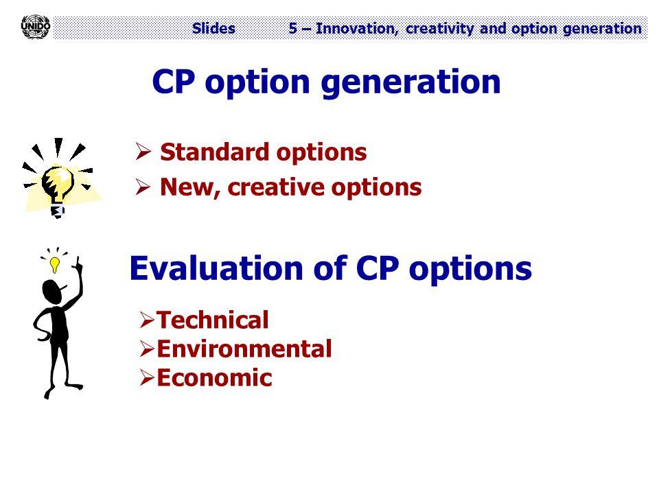 Slides 5 – Innovation, creativity and option generation CP option generation  Standard options  New, creative options Evaluation of CP options  Tec