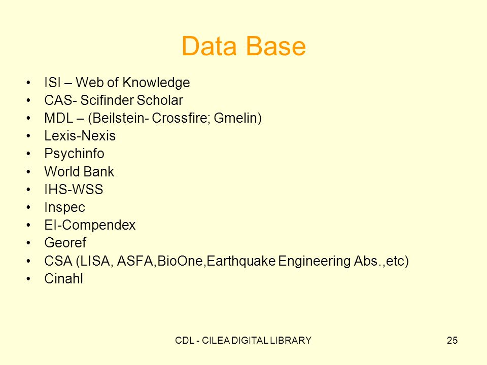 CDL - CILEA DIGITAL LIBRARY25 ISI – Web of Knowledge CAS- Scifinder Scholar MDL – (Beilstein- Crossfire; Gmelin) Lexis-Nexis Psychinfo World Bank IHS-WSS Inspec EI-Compendex Georef CSA (LISA, ASFA,BioOne,Earthquake Engineering Abs.,etc) Cinahl Data Base