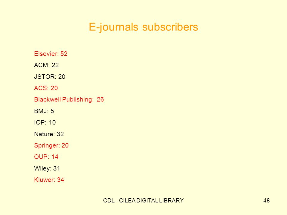 CDL - CILEA DIGITAL LIBRARY48 E-journals subscribers Elsevier: 52 ACM: 22 JSTOR: 20 ACS: 20 Blackwell Publishing: 26 BMJ: 5 IOP: 10 Nature: 32 Springer: 20 OUP: 14 Wiley: 31 Kluwer: 34