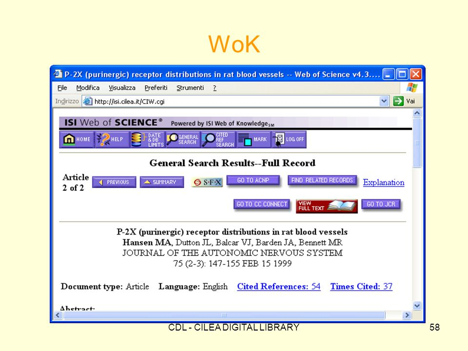 CDL - CILEA DIGITAL LIBRARY58 WoK