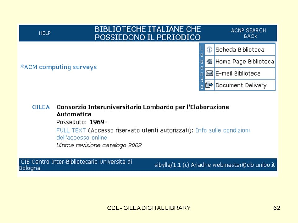 CDL - CILEA DIGITAL LIBRARY62