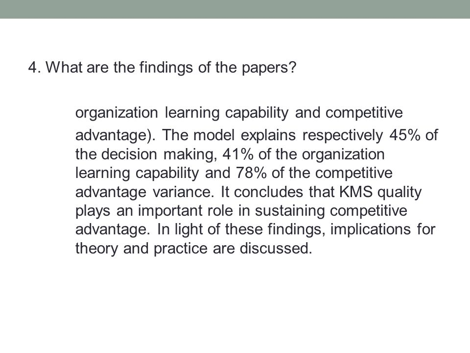 4. What are the findings of the papers.