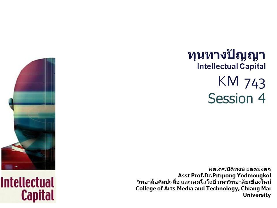 ทุนทางปัญญา Intellectual Capital KM 743 Session 4 ผศ. ดร. ปิติพงษ์ ยอดมงคล Asst Prof.Dr.Pitipong Yodmongkol วิทยาลัยศิลปะ สื่อ และเทคโนโลยี มหาวิทยาลั