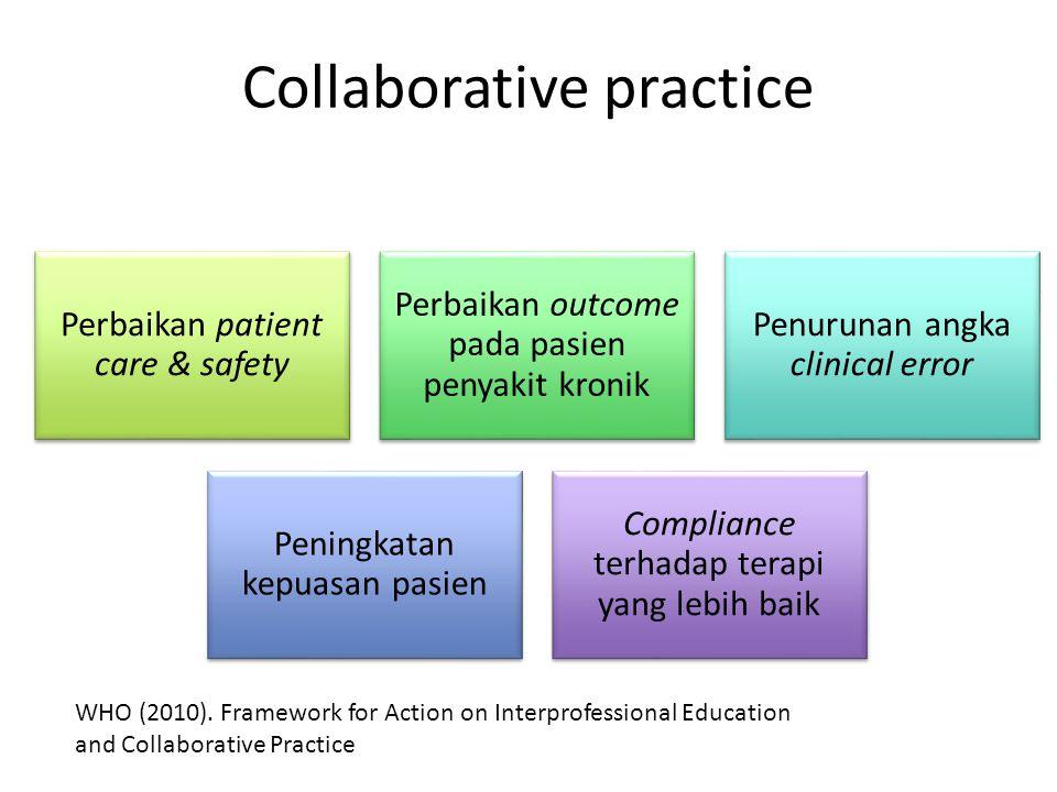 Collaborative practice Perbaikan patient care & safety Perbaikan outcome pada pasien penyakit kronik Penurunan angka clinical error Peningkatan kepuasan pasien Compliance terhadap terapi yang lebih baik WHO (2010).