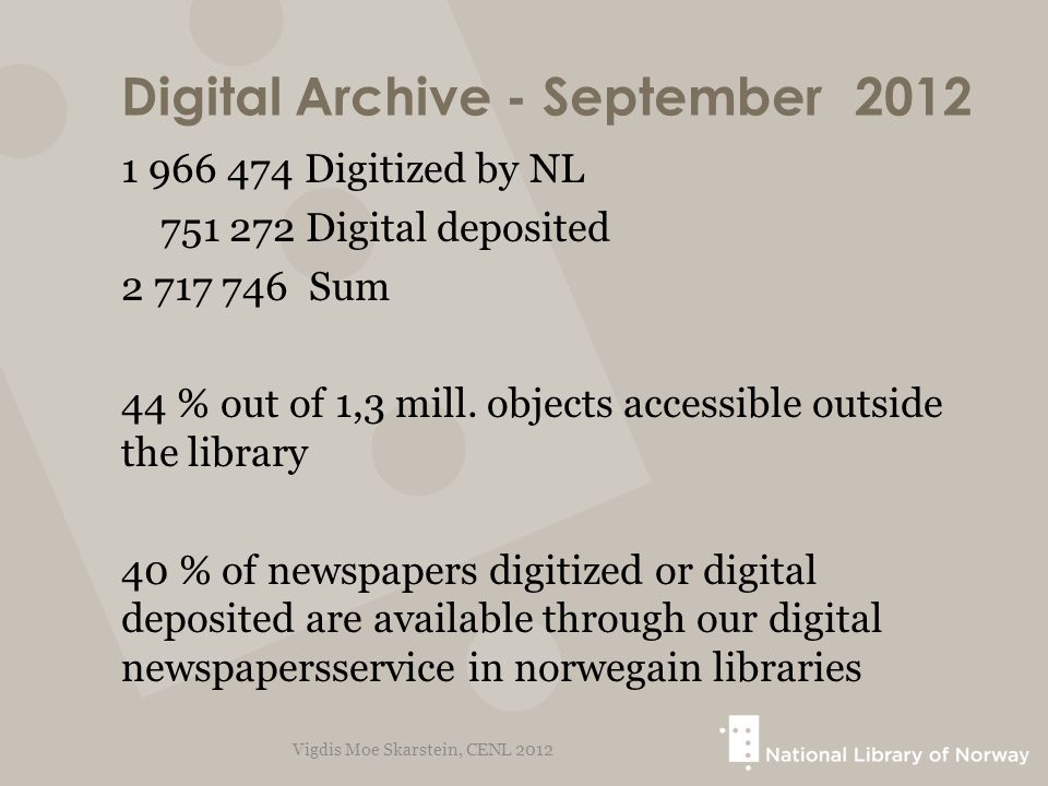 Digital Archive - September2012 1 966 474 Digitized by NL 751 272 Digital deposited 2 717 746 Sum 44 % out of 1,3 mill. objects accessible outside the