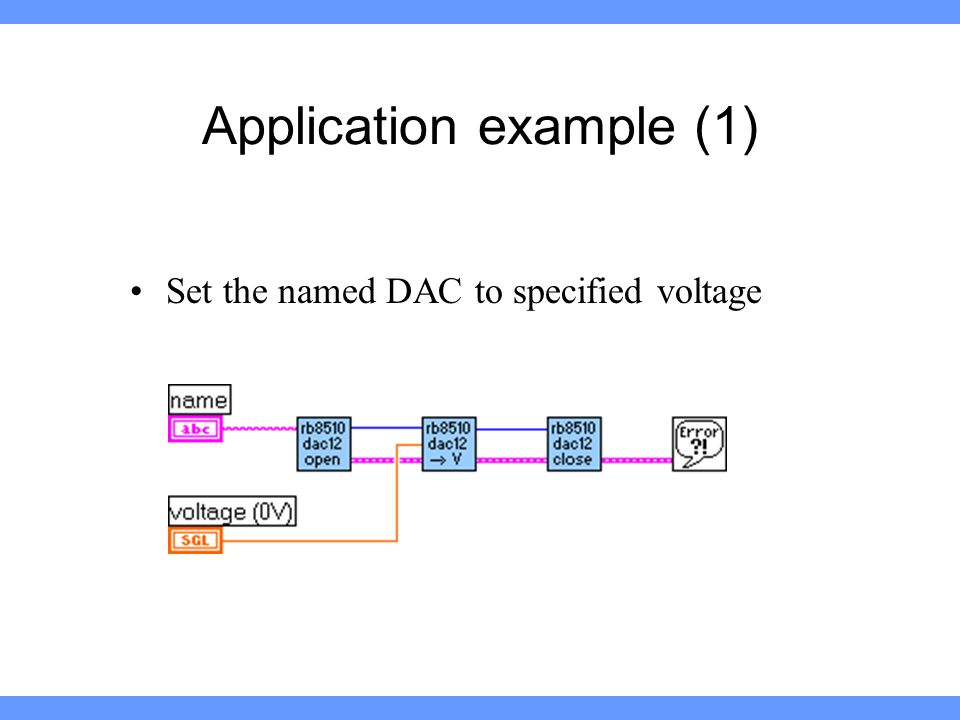 Application example (1) Set the named DAC to specified voltage