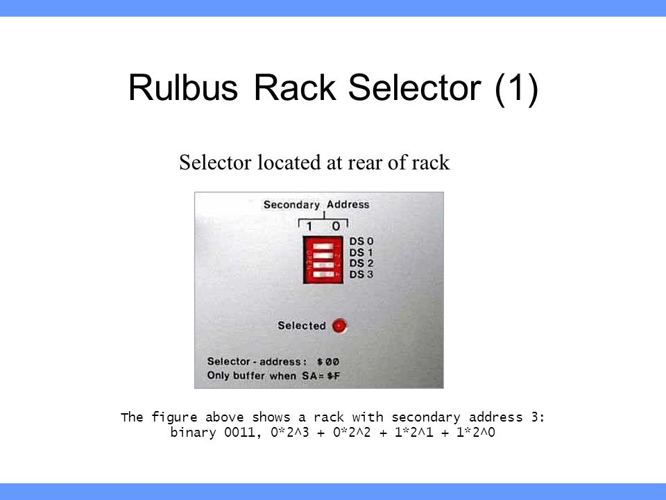 Rulbus Rack Selector (1) The figure above shows a rack with secondary address 3: binary 0011, 0*2^3 + 0*2^2 + 1*2^1 + 1*2^0 Selector located at rear of rack