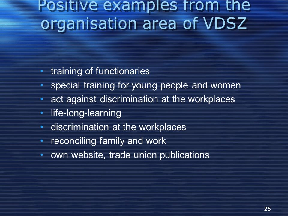 25 Positive examples from the organisation area of VDSZ training of functionaries special training for young people and women act against discrimination at the workplaces life-long-learning discrimination at the workplaces reconciling family and work own website, trade union publications