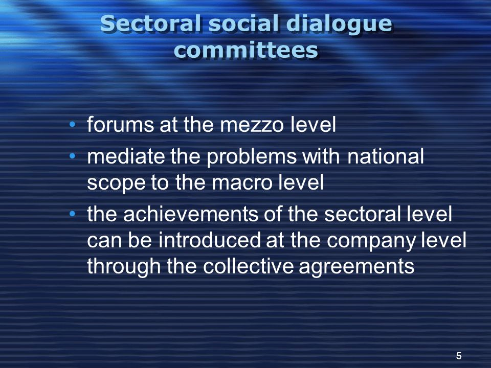 5 Sectoral social dialogue committees forums at the mezzo level mediate the problems with national scope to the macro level the achievements of the sectoral level can be introduced at the company level through the collective agreements
