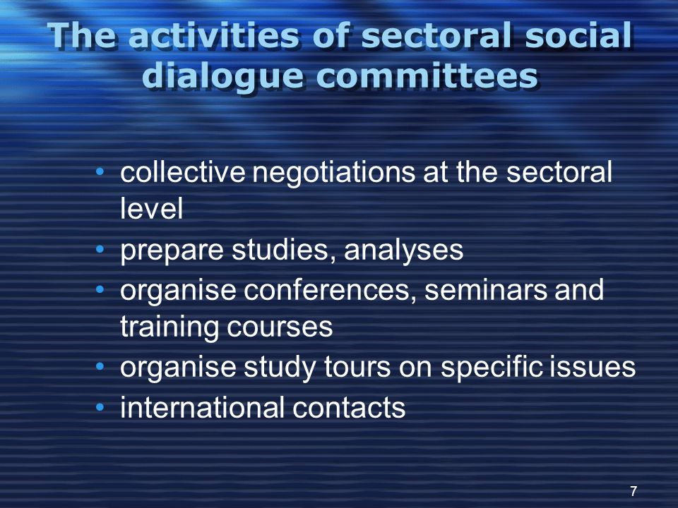 7 The activities of sectoral social dialogue committees collective negotiations at the sectoral level prepare studies, analyses organise conferences, seminars and training courses organise study tours on specific issues international contacts