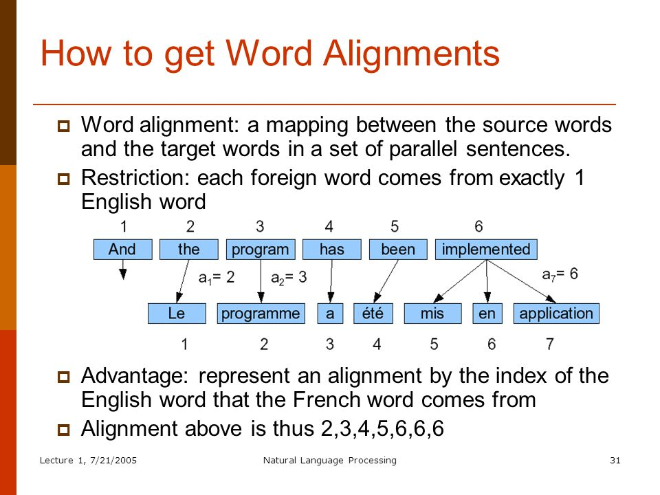 Lecture 1, 7/21/2005Natural Language Processing31 How to get Word Alignments  Word alignment: a mapping between the source words and the target words in a set of parallel sentences.
