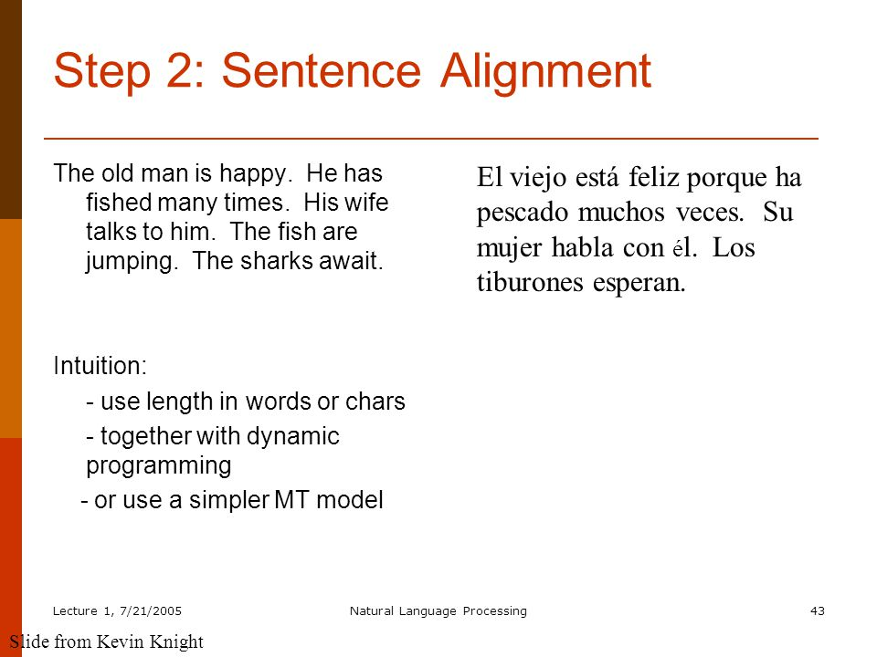 Lecture 1, 7/21/2005Natural Language Processing43 Step 2: Sentence Alignment The old man is happy.