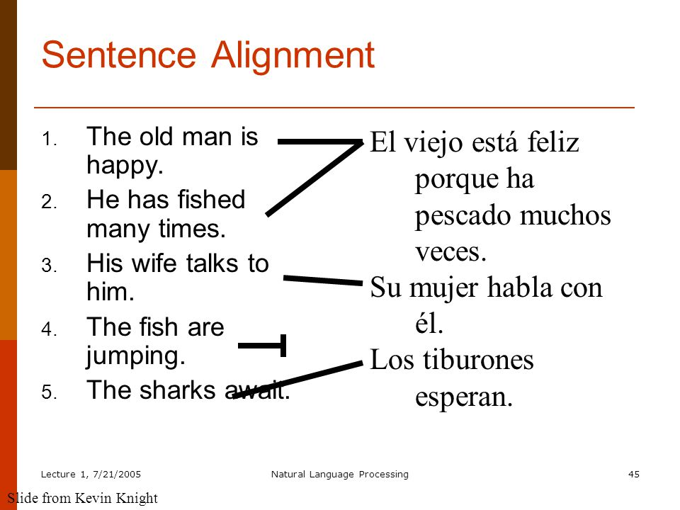 Lecture 1, 7/21/2005Natural Language Processing45 Sentence Alignment 1.