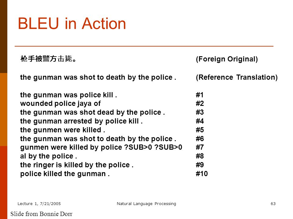 Lecture 1, 7/21/2005Natural Language Processing63 BLEU in Action 枪手被警方击毙。 (Foreign Original) the gunman was shot to death by the police.