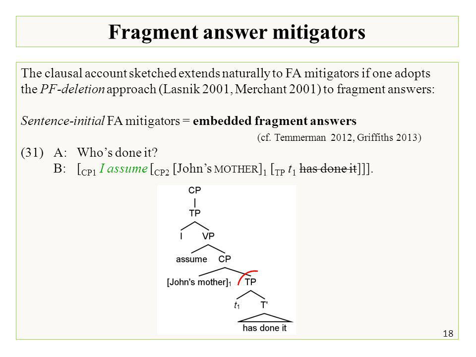 Fragment answer mitigators 18 The clausal account sketched extends naturally to FA mitigators if one adopts the PF-deletion approach (Lasnik 2001, Merchant 2001) to fragment answers: Sentence-initial FA mitigators = embedded fragment answers (cf.