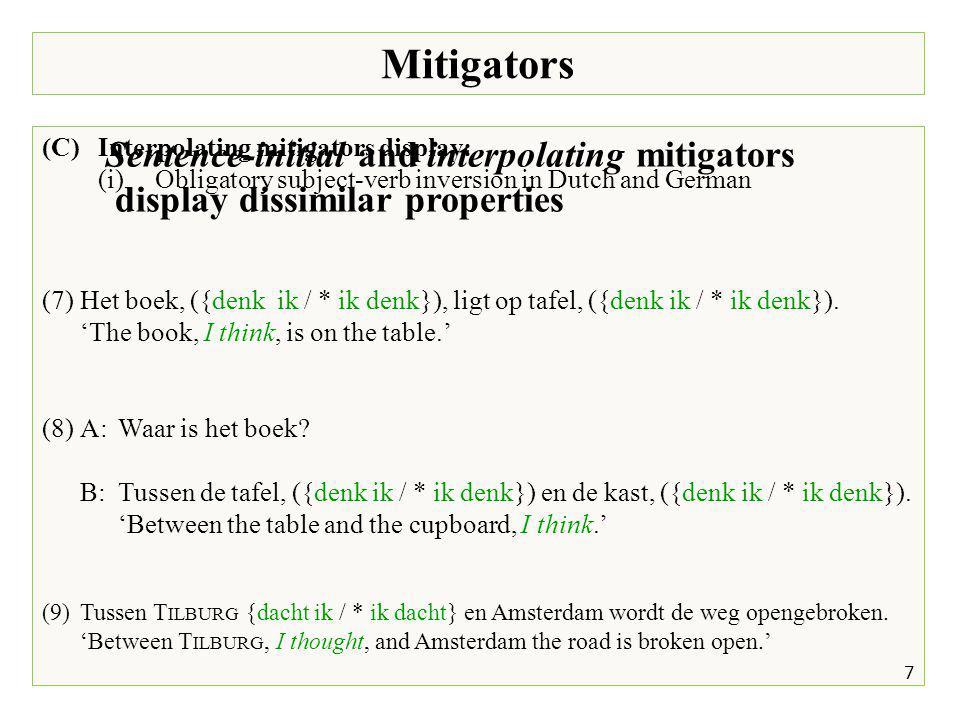 Mitigators 7 (C)Interpolating mitigators display: (i)Obligatory subject-verb inversion in Dutch and German (7)Het boek, ({denk ik / * ik denk}), ligt op tafel, ({denk ik / * ik denk}).