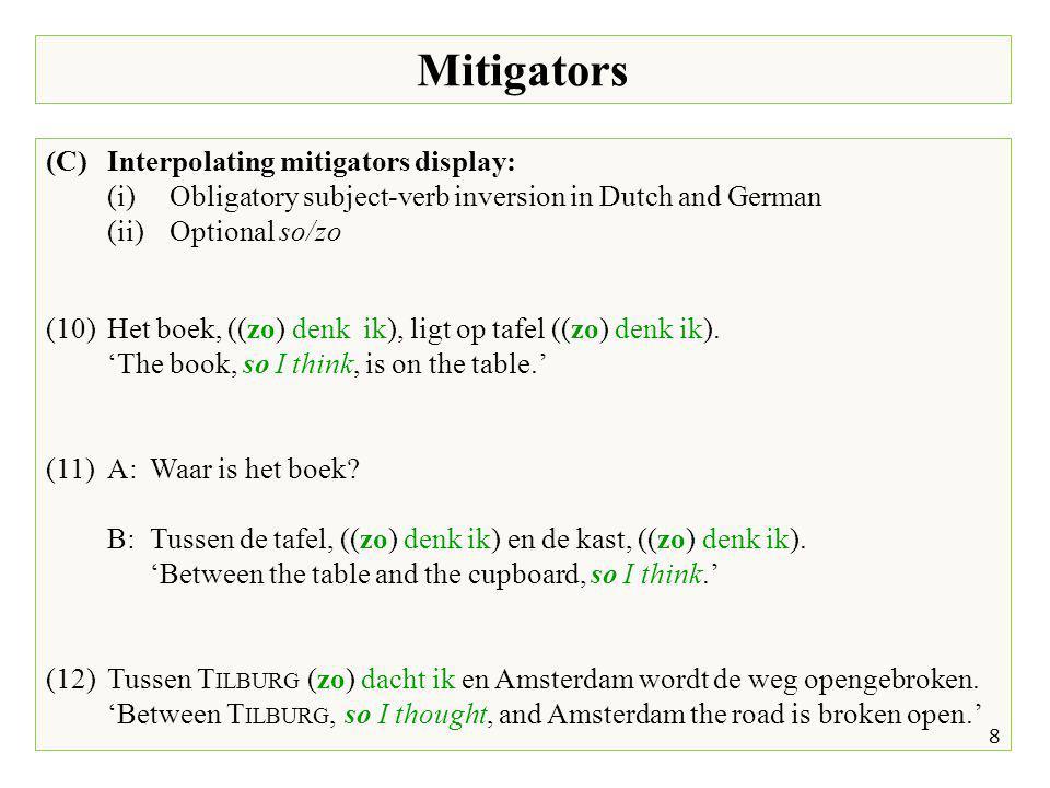 Mitigators 8 (C)Interpolating mitigators display: (i)Obligatory subject-verb inversion in Dutch and German (ii)Optional so/zo (10)Het boek, ((zo) denk ik), ligt op tafel ((zo) denk ik).