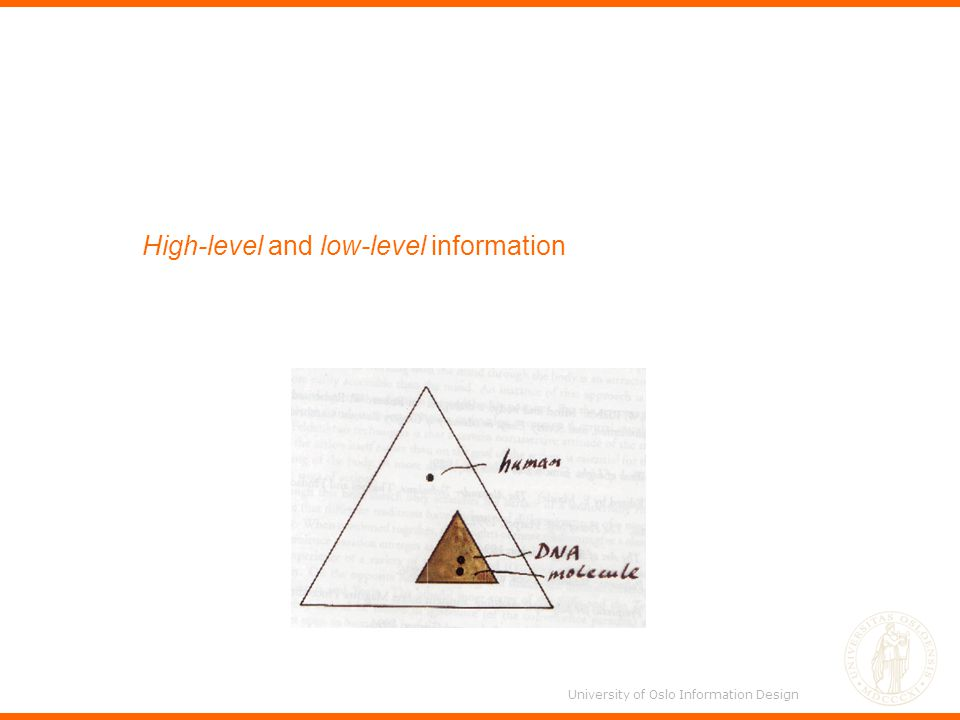 High-level and low-level information University of Oslo Information Design