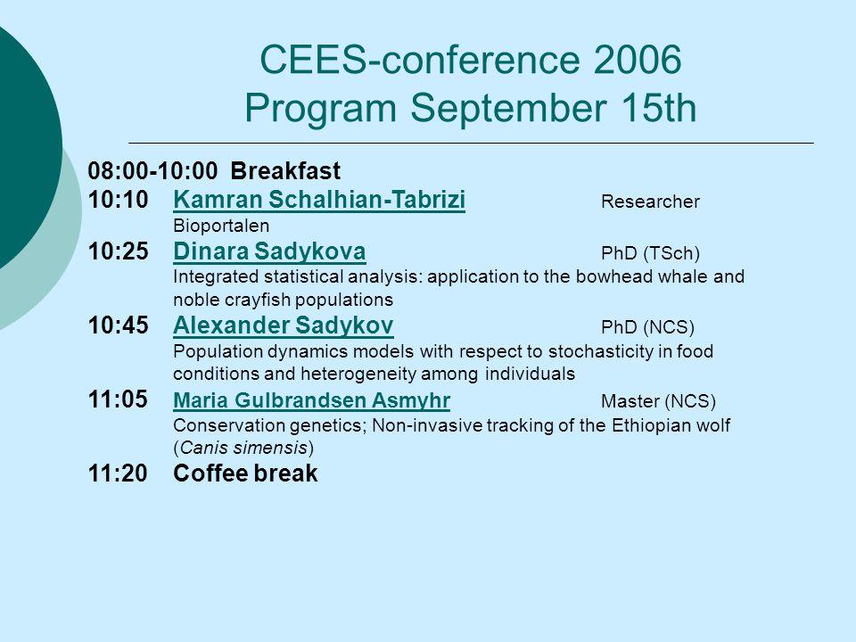 08:00-10:00 Breakfast 10:10Kamran Schalhian-Tabrizi ResearcherKamran Schalhian-Tabrizi Bioportalen 10:25Dinara Sadykova PhD (TSch)Dinara Sadykova Inte